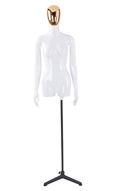 Female Glossy White ¾ Body Mannequin with Gold Egg Head and Non Posable Arms