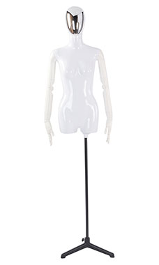Female Glossy White ¾ Body Mannequin with Silver Egg Head and White Posable Arms