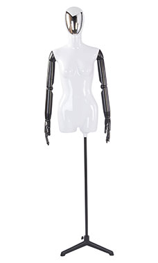 Female Glossy White ¾ Body Mannequin with Silver Egg Head and Black Posable Arms