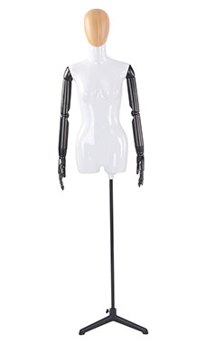 Female Glossy White ¾ Body Mannequin with Wood Egg Head and Black Posable Arms