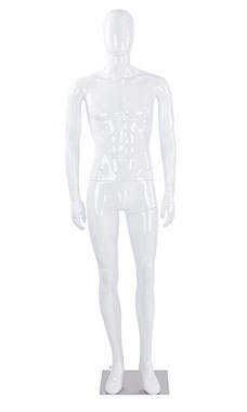 Male Glossy White Plastic Mannequin with White Egg Head and Non Posable Arms