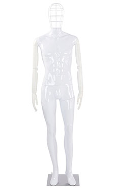 Male Glossy White Plastic Mannequin with Wire Head and White Posable Arms
