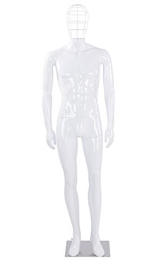 Male Glossy White Plastic Mannequin with Wire Head and 2 Shoulder Caps