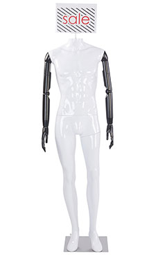 Male Glossy White Plastic Mannequin with Sign Head and Black Posable Arms