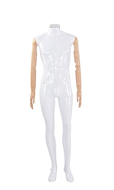 Male Glossy White Plastic Mannequin with Neck Cap and Wood Posable Arms