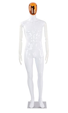 Male Glossy White Plastic Mannequin with Red/Chrome Egg Head and White Posable Arms