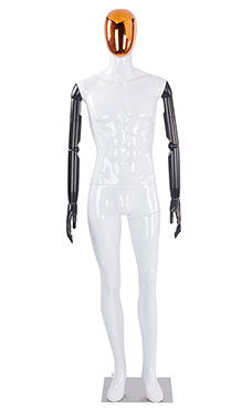 Male Glossy White Plastic Mannequin with Red/Chrome Egg Head and Black Posable Arms