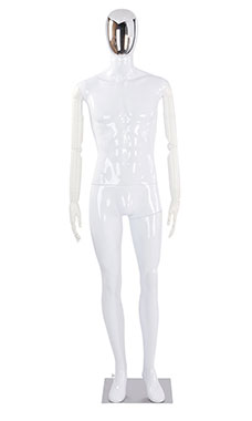 Male Glossy White Plastic Mannequin with Silver Egg Head and White Posable Arms