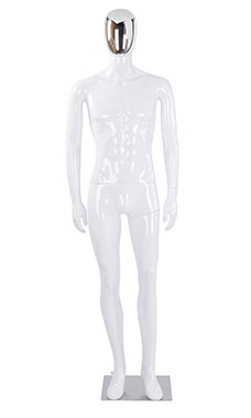 Male Glossy White Plastic Mannequin with Silver Egg Head and Non Posable Arms