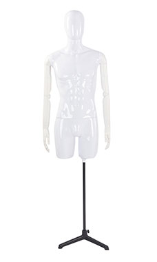 Male Glossy White ¾ Body Mannequin with White Egg Head and White Posable Arms