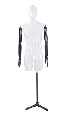 Male Glossy White ¾ Body Mannequin with White Egg Head and Black Posable Arms