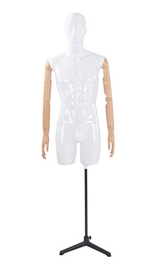 Male Glossy White ¾ Body Mannequin with White Face Egg Head and Wood Posable Arms