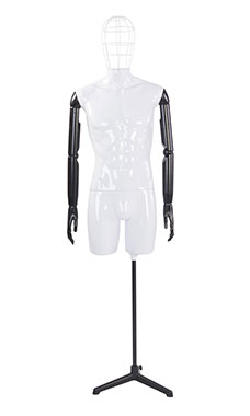 Male Glossy White ¾ Body Mannequin with Wire Head and Black Posable Arms
