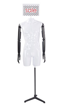 Male Glossy White ¾ Body Mannequin with Sign Head and Black Posable Arms