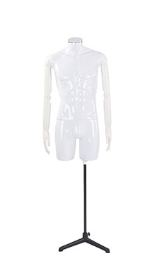 Male Glossy White ¾ Body Mannequin with Neck Cap and White Posable Arms