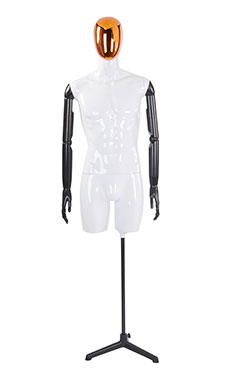 Male Glossy White ¾ Body Mannequin with Red/Chrome Egg Head and Black Posable Arms