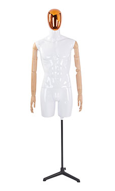 Male Glossy White ¾ Body Mannequin with Red/Chrome Egg Head and Wood Posable Arms