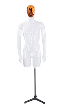 Male Glossy White ¾ Body Mannequin with Red/Chrome Egg Head and Non Posable Arms