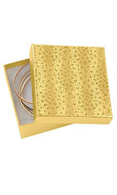 3 ½ x 3 ½  x 1 inch Gold Embossed Cotton Filled Jewelry Boxes