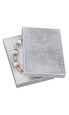 5 ¼ x 3 ¾ x ⅞ Cotton Filled Silver Embossed Jewelry Boxes