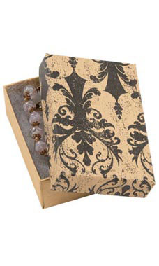 3 1/16 x 2 1/8 x 1 inch Cotton Filled Distressed Damask Jewelry Boxes