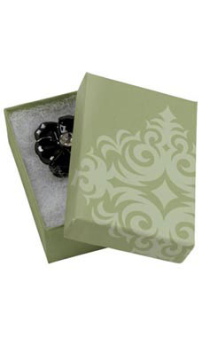 "Sage Damask Cotton-Filled Jewelry Box 3 1/16"" x 2 1/8"" x 1"""