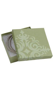 3 ½  x 3 ½  x 1 inch Cotton Filled Sage Damask Jewelry Boxes