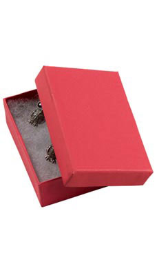 2 ½  x 1 ½  x ⅞ inch Cotton Filled Red Jewelry Boxes