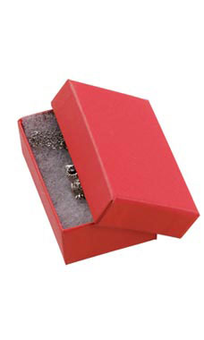 3 1/16 x 2 1/8 x 1 inch Cotton Filled Red Jewelry Boxes