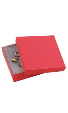 3 ½  x 3 ½  x 1 inch Cotton Filled Red Jewelry Boxes