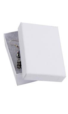 3 1/16 x 2 1/8 x 1 inch Cotton Filled White Kraft Jewelry Boxes