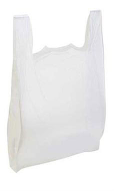 Large White Plastic T-Shirt Bags - Case of 500