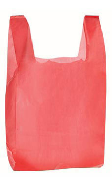 Small Red Plastic T-Shirt Bags - Case of 2,000