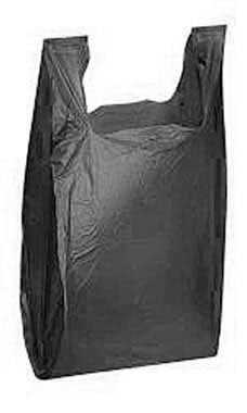 Medium Black Plastic T-Shirt Bags - Case of 1,000