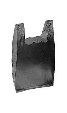 Small Black Plastic T-Shirt Bags - Case of 2,000