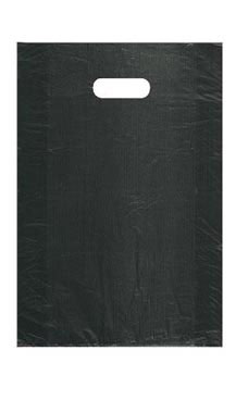 Medium High Density Black Plastic Merchandise Bags - Case of 1,000