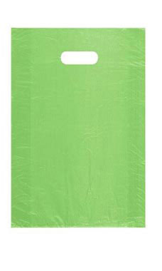 Medium High Density Lime Green Plastic Merchandise Bags - Case of 1,000