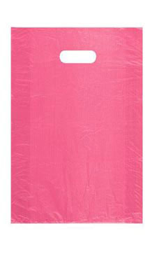 Medium High Density Pink Plastic Merchandise Bags - Case of 1,000