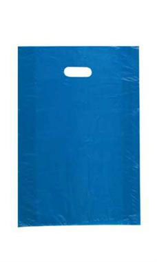 Medium High Density Blue Plastic Merchandise Bags - Case of 1,000