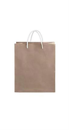 Medium Kraft Premium Folded Top Paper Bags White Rope Handles