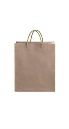 Medium Kraft Premium Folded Top Paper Bags Gold Rope Handles
