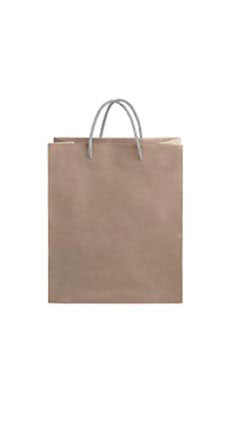 Medium Kraft Premium Folded Top Paper Bags Silver Rope Handles