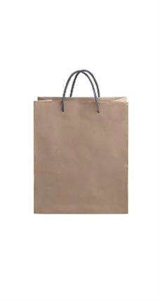 Medium Kraft Premium Folded Top Paper Bags Dark Gray Rope Handles