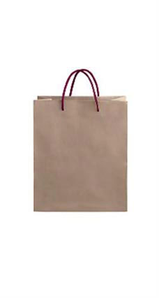 Medium Kraft Premium Folded Top Paper Bags Maroon Rope Handles