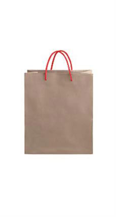 Medium Kraft Premium Folded Top Paper Bags Red Rope Handles