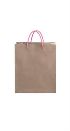 Medium Kraft Premium Folded Top Paper Bags Light Pink Rope Handles