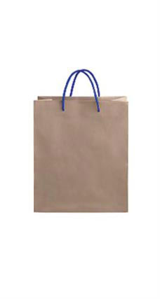 Medium Kraft Premium Folded Top Paper Bags Royal Blue Rope Handles