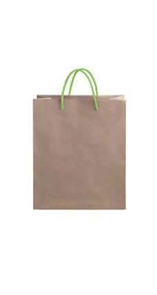 Medium Kraft Premium Folded Top Paper Bags Neon Green Rope Handles