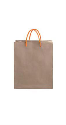 Medium Kraft Premium Folded Top Paper Bags Orange Rope Handles