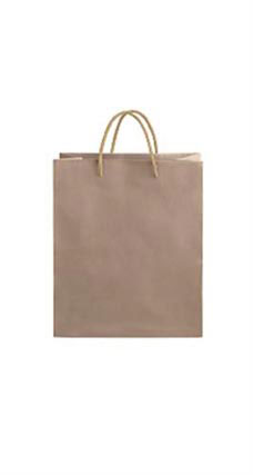 Medium Kraft Premium Folded Top Paper Bags Light Gold Rope Handles